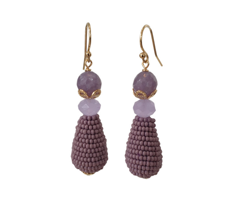 Earrings with Amethyst Quartz, Crystal and Icicle with Beads