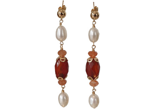 CLASSIC COLLECTION White, Brown Earring