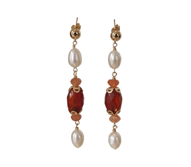 Earrings with Pearl, Sandstone and Carnelian