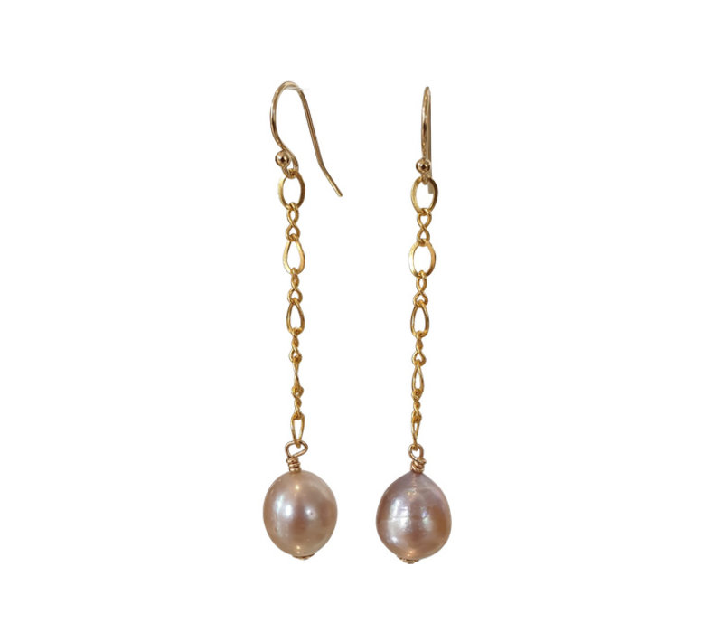Earrings with Pearl - gold, nude