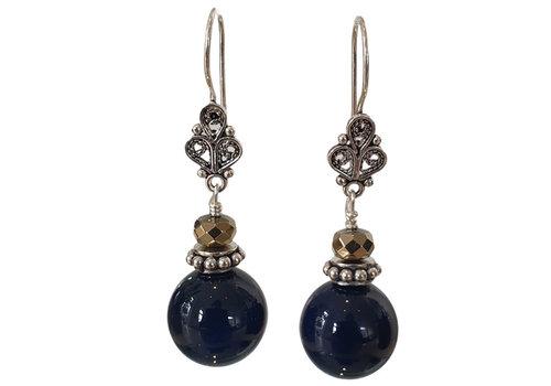 CLASSIC COLLECTION Zilver, Blauwe Oorbel