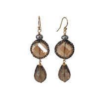 Earrings with Pearl, Crystal, Markasite and Smoky Quartz