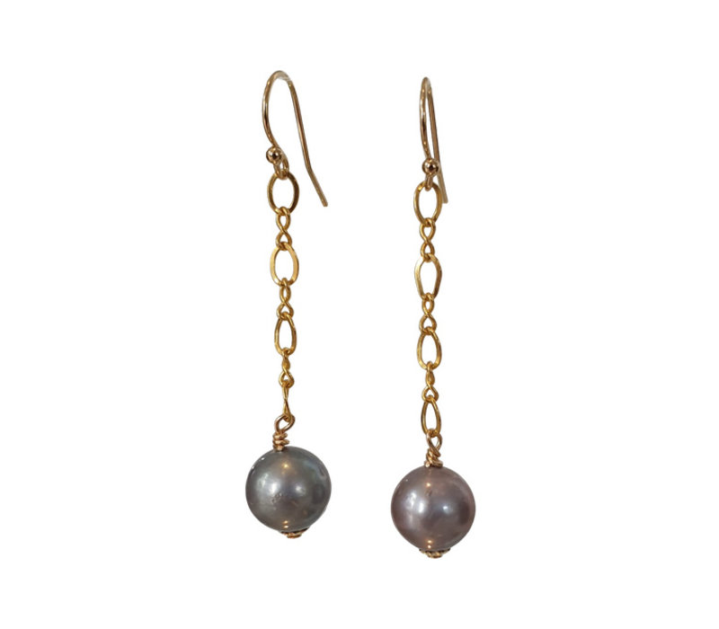 Earrings with Pearl - gold gray