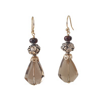 Earrings with Jasper, Silver Bead and Smoky Quartz