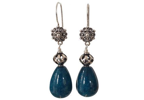 CLASSIC COLLECTION Zilver, Blauw Groene Oorbel