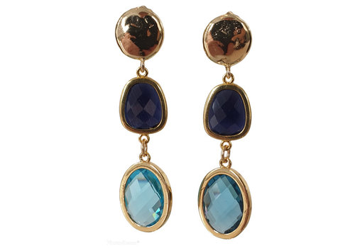 CLASSIC COLLECTION Gold, Blue Earrings