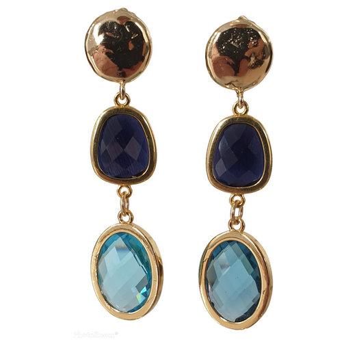 Gold, Blue Earrings