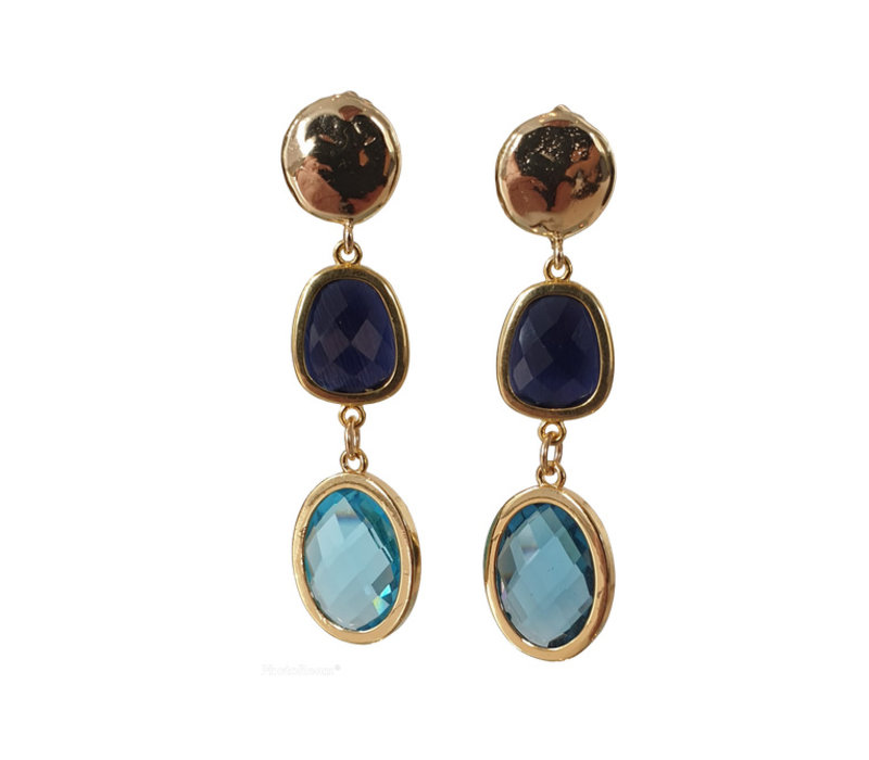 Earrings with Bras, Cat's Eye and Crystal -gold blue