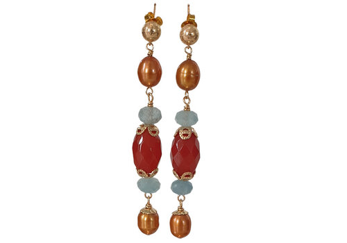 CLASSIC COLLECTION Brown, Blue Earring