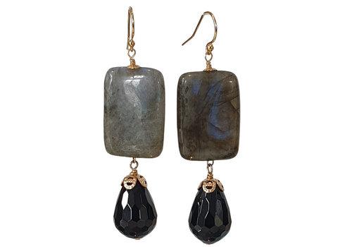 CLASSIC COLLECTION Blauw, Zwarte Oorbel