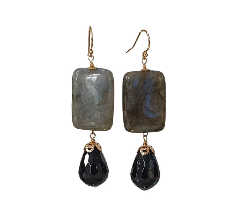 Labradorite and Onyx earrings