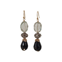 Earrings with Prahsolite, Silver Bead and Onyx
