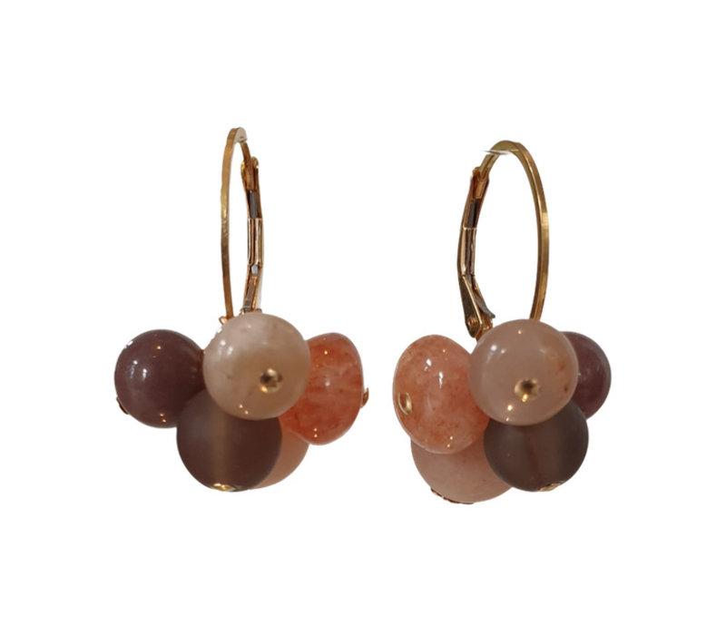 Earrings with Moonstone, Sandstone, Smoky Quartz, Aventurine and Geode