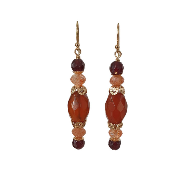 Earrings with Spinel, Sandstone and Carnelian