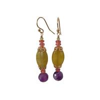 Peridot, Orange Sapphire, Jade and Amethyst earrings
