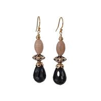 Moonstone, Silver Bead and Onyx earrings