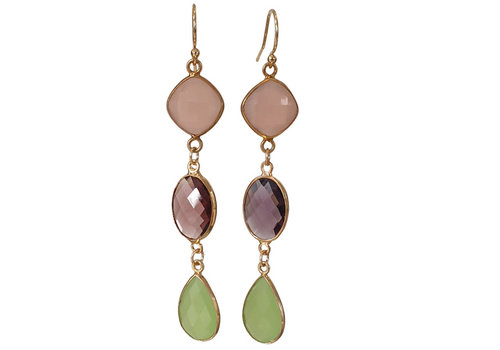 CLASSIC COLLECTION Gold, Pink, Purple, Green Earrings