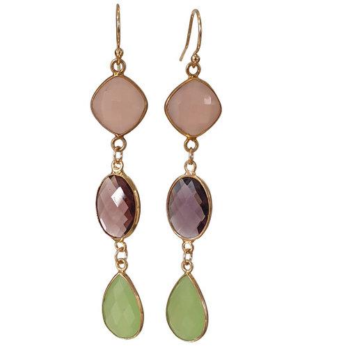 Gold, Pink, Purple, Green Earrings