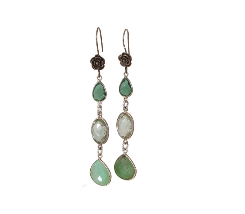 Earrings with Crystal and Prahsolite