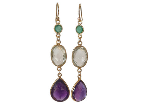 CLASSIC COLLECTION Gold, Green, Purple Earrings