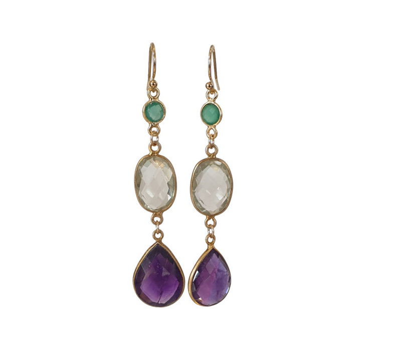Earrings with Green Amethyst, Prahsolite and Amethyst