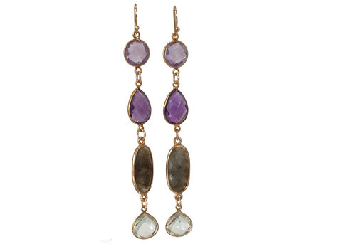CLASSIC COLLECTION Gold, Purple, Brown, Green Earrings