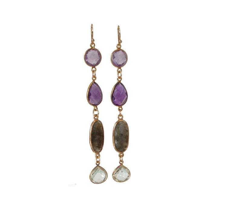 Earrings with Amethyst, Labradorite and Prahsolite