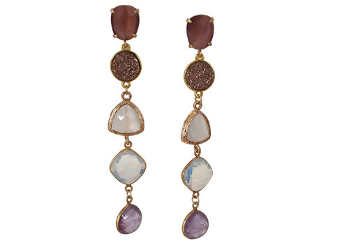 CLASSIC COLLECTION Gold, Purple Earrings