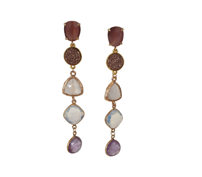 Earrings with Quartz, Geode, Cat's Eye, Opalite and Amethyst