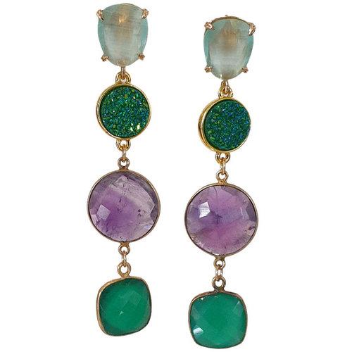 Gold, Green, Purple Earrings