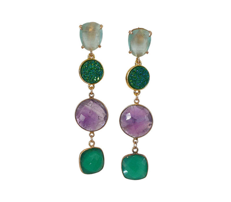 Earrings with Cat's Eye, Geode, Amethyst and Emerald