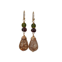 Earrings with Olive Crystal, Garnet and Tiger Agate