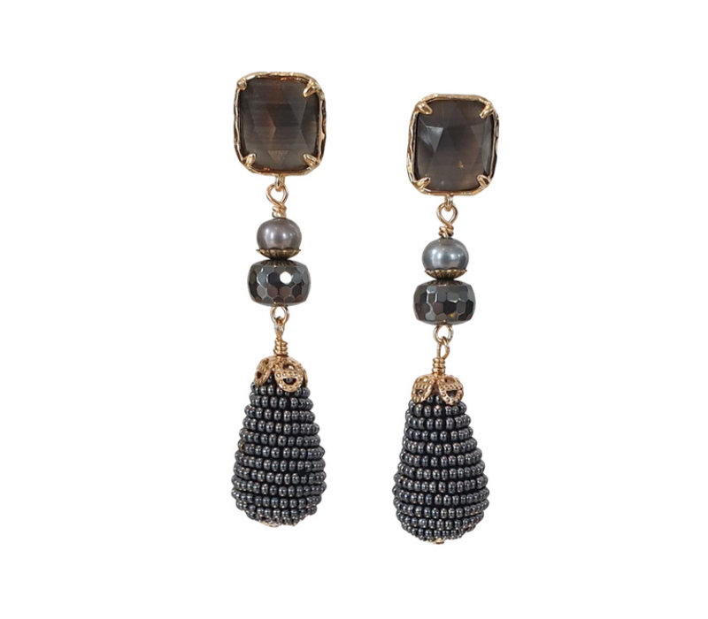 Earrings with Quartz, Pearl, Hematite and Icicle with Beads