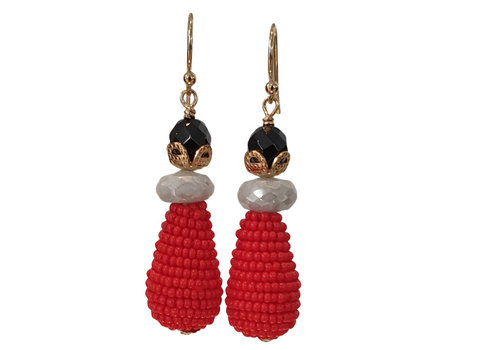 CLASSIC COLLECTION Black, Gray, Red Earring