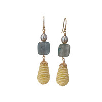 Earrings with Pearl, Kyanite and Pear with Beads