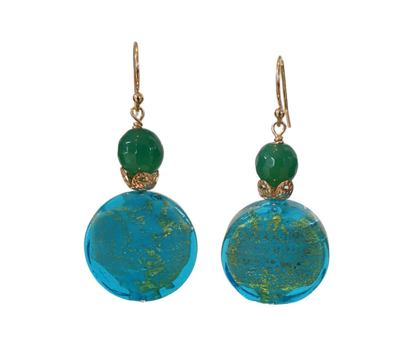 Earrings with Agate and Murano glass
