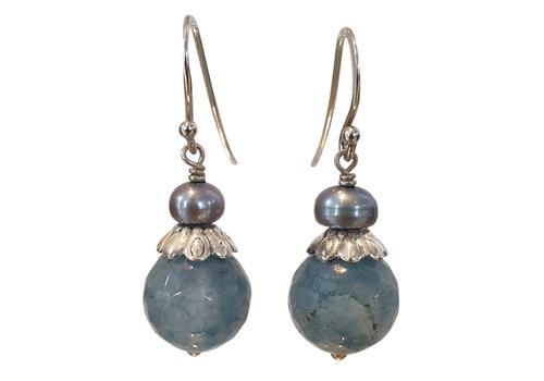 CLASSIC COLLECTION Blauw Zilveren Oorbel