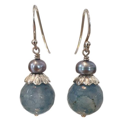 Blue Silver Earring