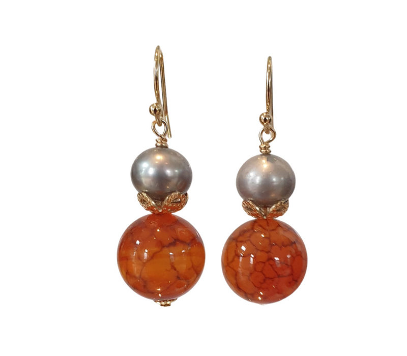 Earrings with Pearl and Tiger Agate