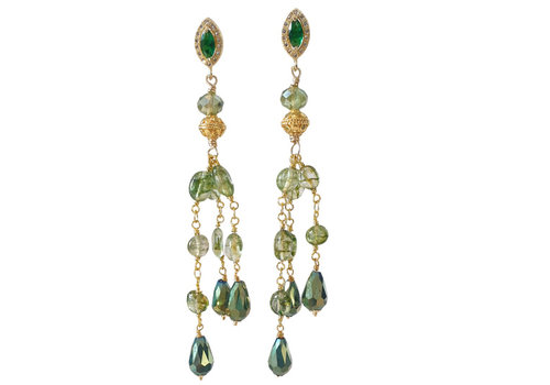 CLASSIC COLLECTION Gold green earrings