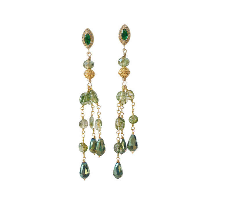 Earrings with Crystal and Green Calcite