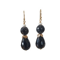 Earrings with Pearl, Tiger Agate and Onyx