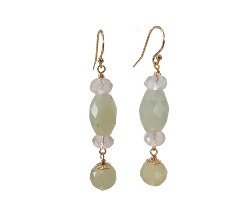 Earrings with Rose Quartz and Jade
