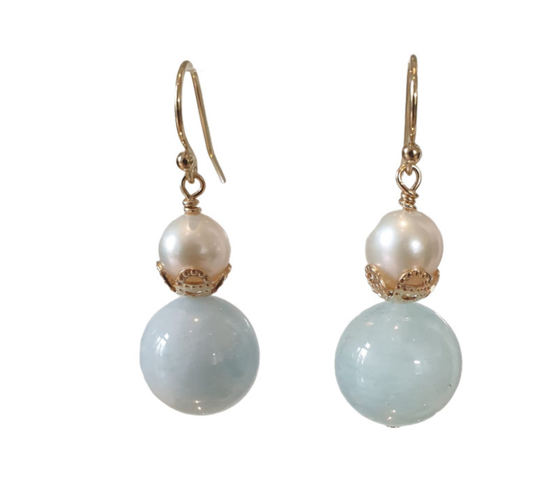 Earrings with Pearl and Aquamarine
