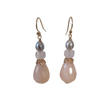 Earrings with Pearl, Rose Quartz and Aventurine