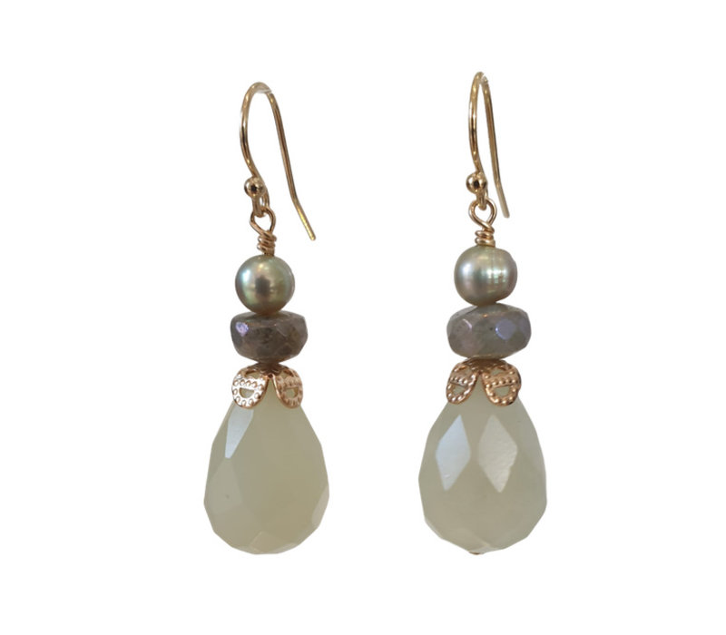 Earrings with Pearl, Labradorite and Jade