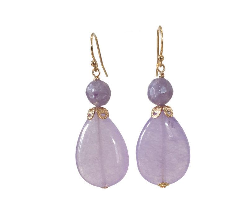 Earrings with Amethyst Quartz and Quartz