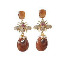 Earrings with Cat's Eye, Crystal, Imitation Pearl and Goldstone