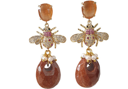 CLASSIC COLLECTION Gold, Brown Earring