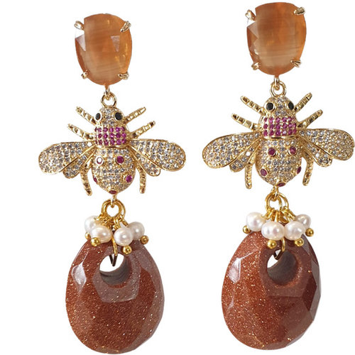 Gold, Brown Earring